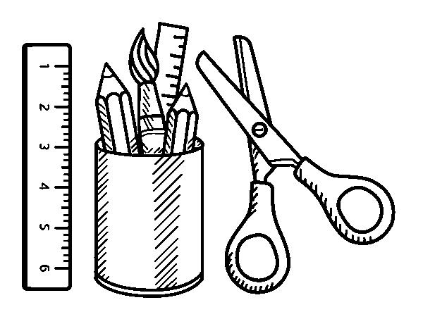 Dibujo de El material escolar para Colorear - Dibujos.net