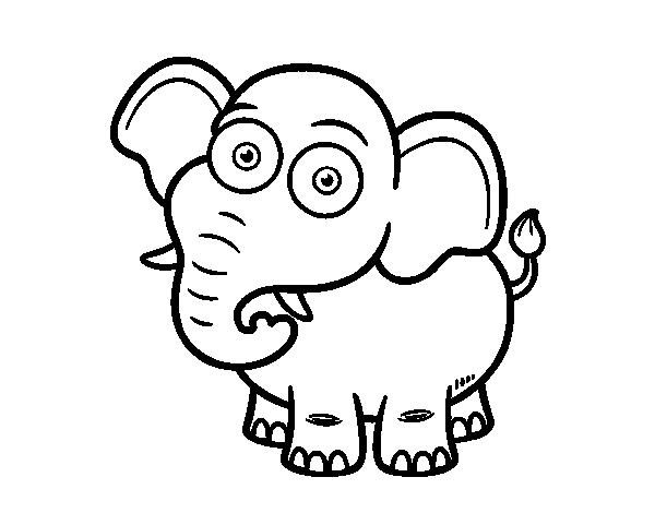 Dibujo de Elefante africano de sabana para Colorear - Dibujos.net