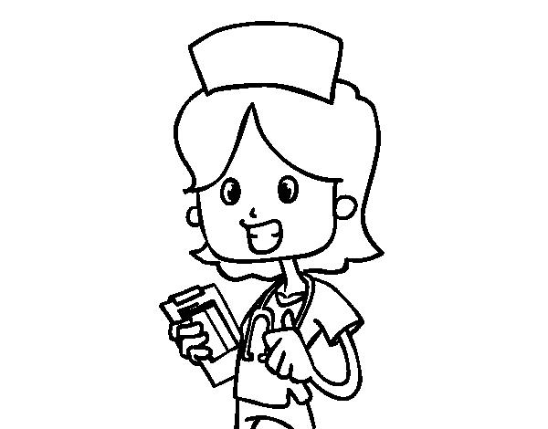Dibujo De Enfermera De Visita Para Colorear Dibujosnet