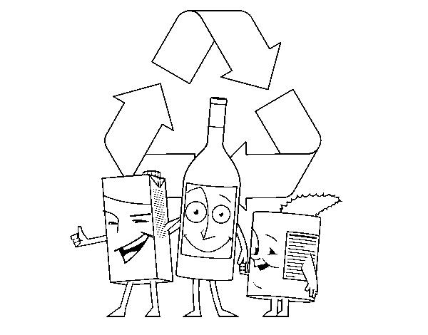 Dibujo De Envases Para Reciclar Para Colorear Dibujosnet