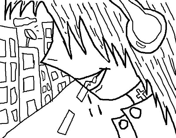 Dibujo de Escuchando música para Colorear - Dibujos.net