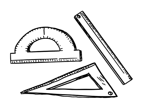 Dibujo De Estuche Geométrico Para Colorear Dibujosnet