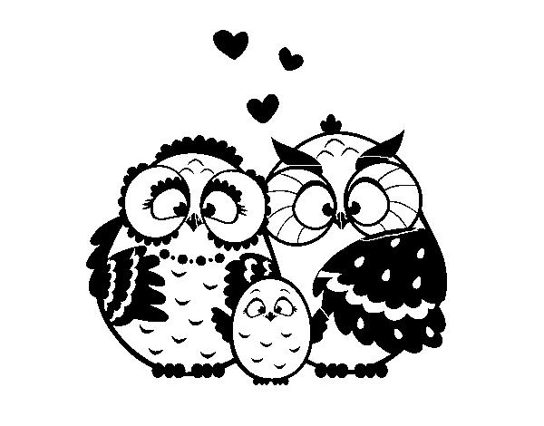 Dibujo de Familia búho para Colorear - Dibujos.net
