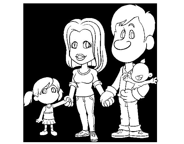 Feliz Personas Exitosas En Caricaturas: Dibujo De Familia Feliz Para Colorear