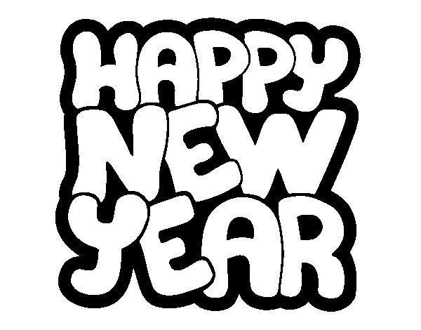 Dibujo de Feliz año nuevo para Colorear - Dibujos.net
