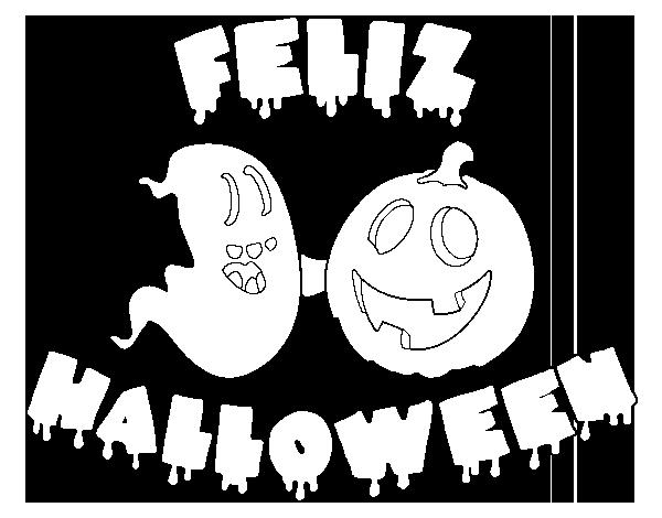 Arañas De Halloween Para Colorear: Dibujo De Feliz Halloween Para Colorear