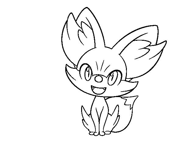 150 Dibujos De Pokemon Para Colorear: Dibujo De Fennekin Para Colorear