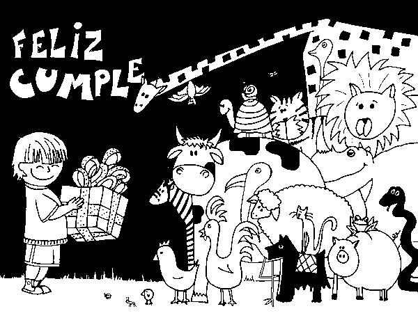 Dibujo de Fiesta de animales para Colorear - Dibujos.net