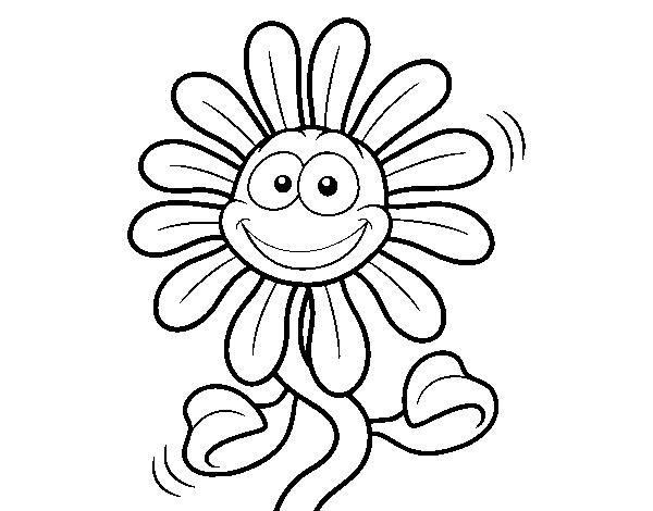 Dibujo de Flor animada para Colorear - Dibujos.net