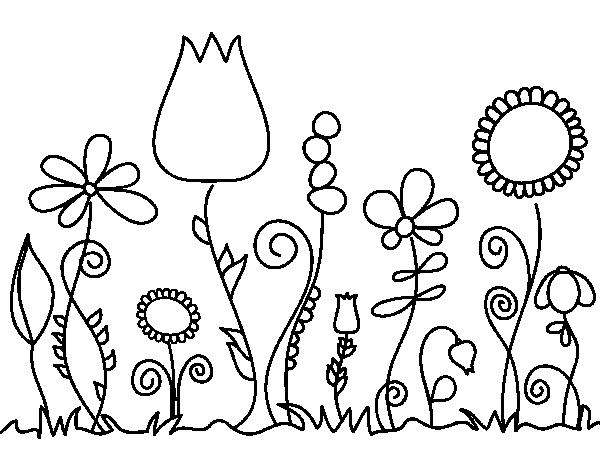 Dibujo De Flores Del Bosque Para Colorear Dibujosnet