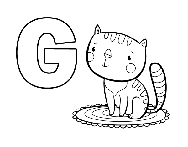 Dibujo de G de Gato para Colorear - Dibujos.net