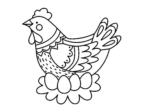 Dibujo de Gallina con huevos de Pascua para Colorear - Dibujos.net