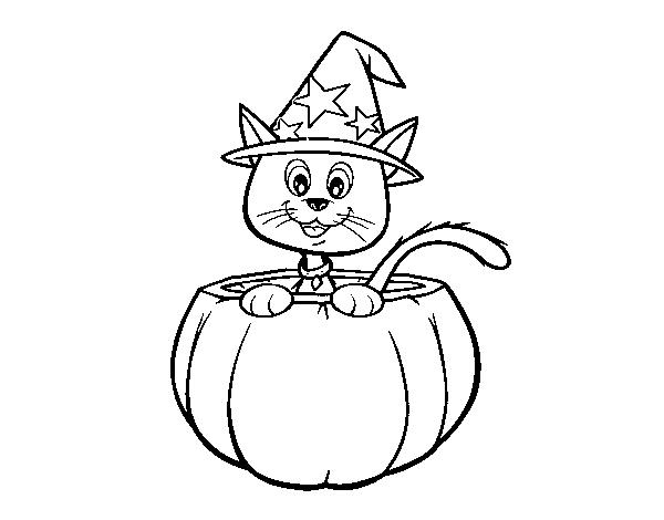 Dibujo de Gatito de Halloween para Colorear - Dibujos.net