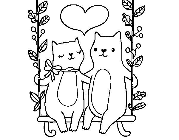 Dibujo de Gatitos enamorados para Colorear - Dibujos.net