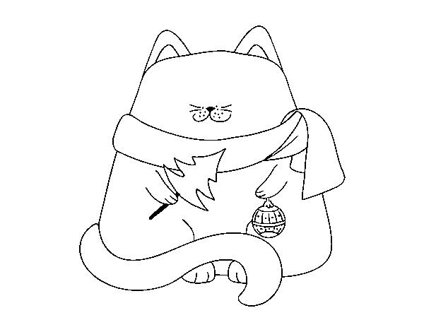 Dibujo de Gato con adornos navideños para Colorear - Dibujos.net