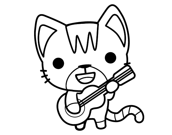 Dibujo de Gato guitarrista para Colorear - Dibujos.net