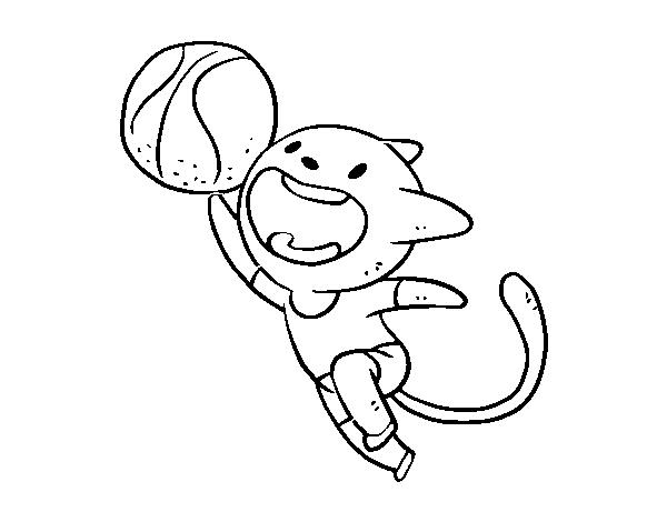 Dibujo de Gato jugando a baloncesto para Colorear - Dibujos.net