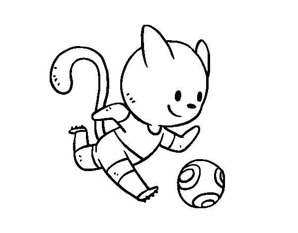 Dibujo De Gato Jugando A Fútbol Para Colorear Dibujosnet