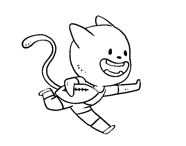 Dibujo De Gato Jugando A Rugby Para Colorear Dibujosnet