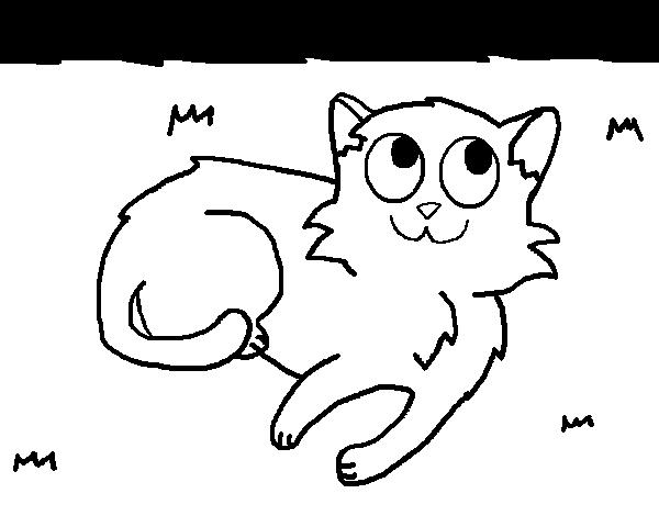 Dibujo de Gato tumbado para Colorear - Dibujos.net