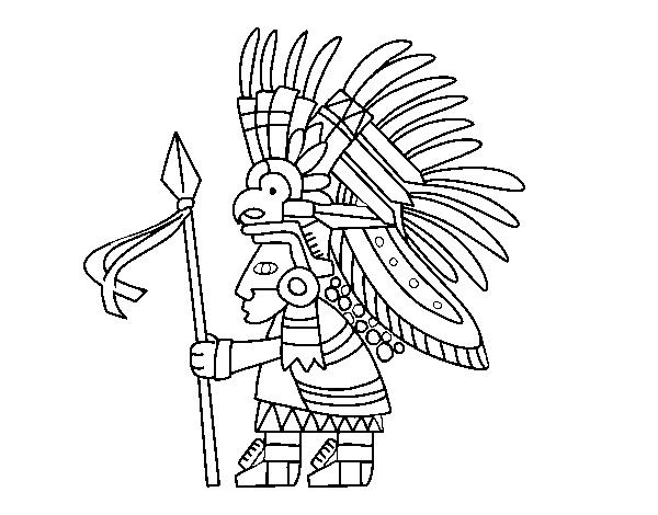 Dibujo de Guerrero azteca para Colorear - Dibujos.net