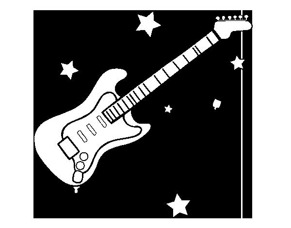 Dibujo de Guitarra y estrellas para Colorear   Dibujos.net