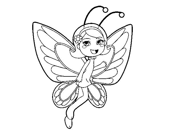 Dibujo de Hada mariposa contenta para Colorear - Dibujos.net