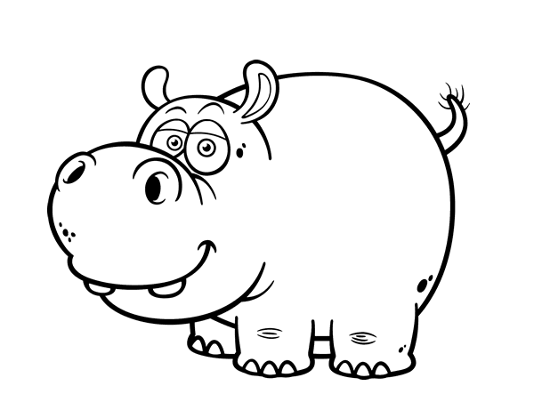 Dibujo de Hipopótamo común para Colorear - Dibujos.net