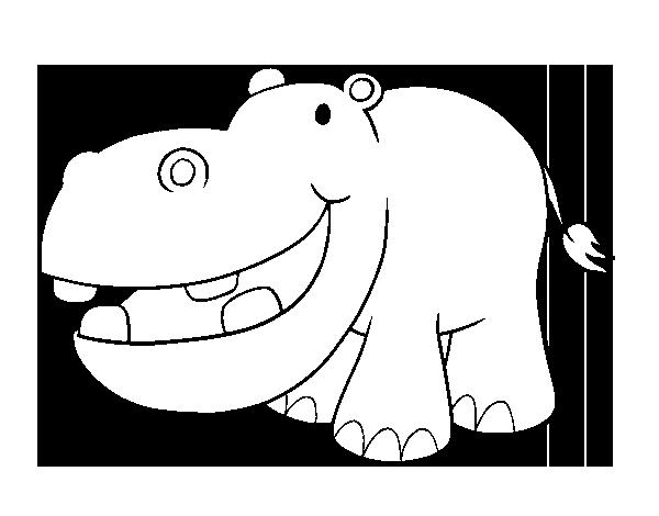 Dibujo de Hipopótamo pequeño para Colorear - Dibujos.net