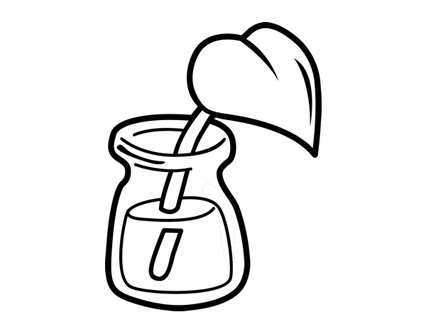 Dibujo de Hoja en un vaso para Colorear - Dibujos.net