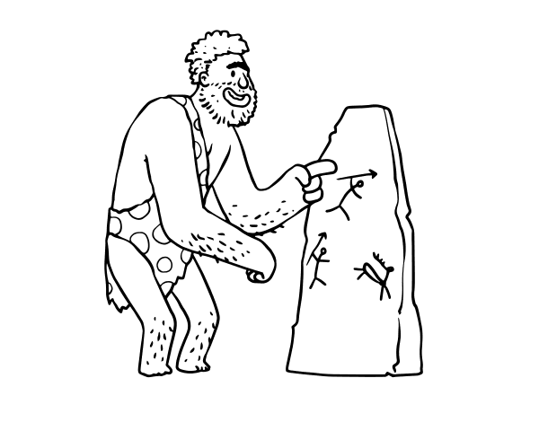 Dibujo De Hombre Prehistórico Con Pinturas Rupestres Para