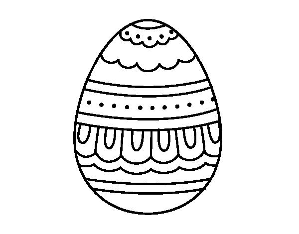 Dibujo de Huevo de Pascua blanco y negro para Colorear - Dibujos.net