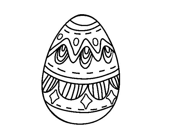 Dibujo De Huevo De Pascua Con Rombos Para Colorear Dibujosnet
