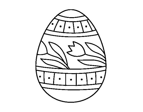 Dibujo de Huevo de Pascua con tulipanes para Colorear - Dibujos.net