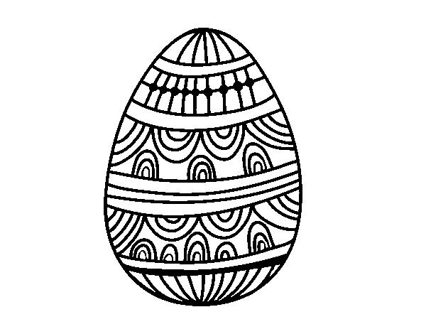 Dibujo de Huevo de Pascua estampado con ondas para Colorear ...