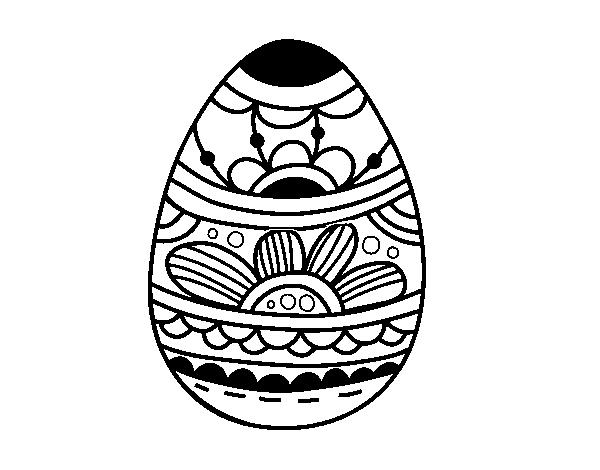 Dibujo de Huevo de Pascua estampado floral para Colorear - Dibujos.net