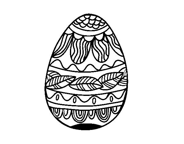 Dibujo de Huevo de Pascua estampado vegetal para Colorear - Dibujos.net