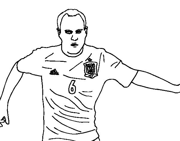 Dibujo de Iniesta con la Selección Española para Colorear