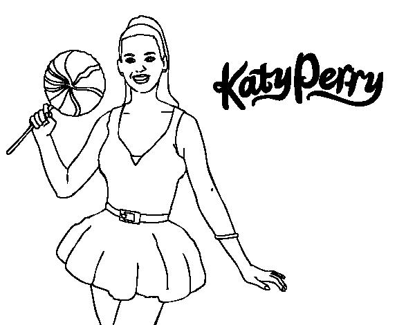 Dibujo de Katy Perry con piruleta para Colorear - Dibujos.net