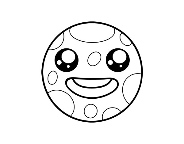 Dibujo de La luna Kawaii para Colorear - Dibujos.net