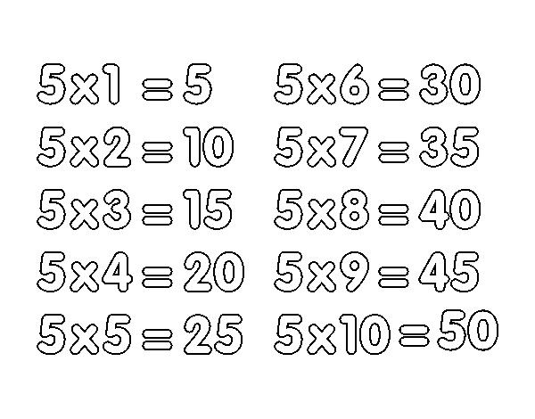 Dibujo De La Tabla De Multiplicar Del 5 Para Colorear Dibujosnet