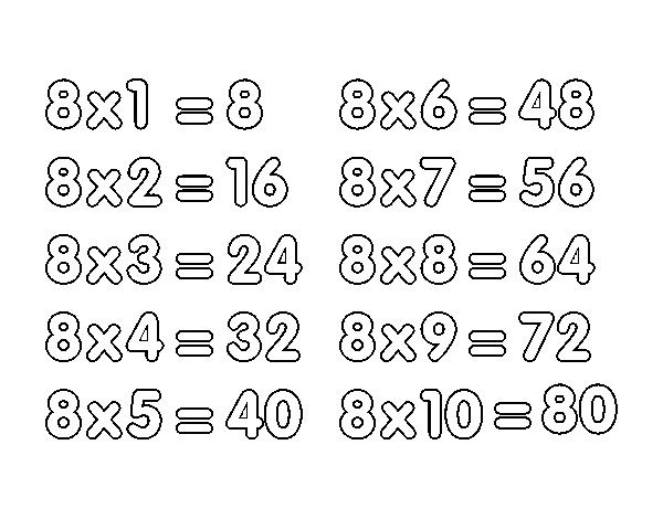 Dibujo De La Tabla De Multiplicar Del 8 Para Colorear
