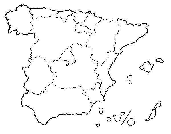 Mapa España Comunidades Autonomas Blanco Y Negro.Dibujo De Las Comunidades Autonomas De Espana Para Colorear