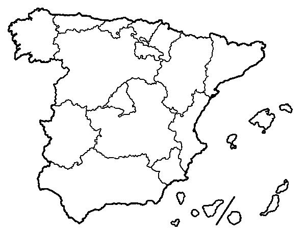 Mapa De España Colorear.Dibujo De Las Comunidades Autonomas De Espana Para Colorear
