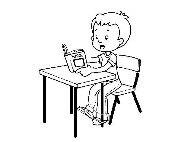 Dibujos Sobre La Escuela Para Colorear E Imprimir: Dibujo De Lecturas De Colegio Para Colorear