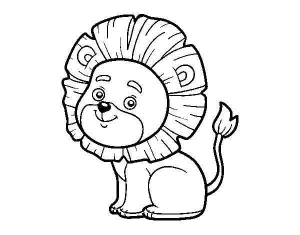 Dibujo de León joven para Colorear - Dibujos.net