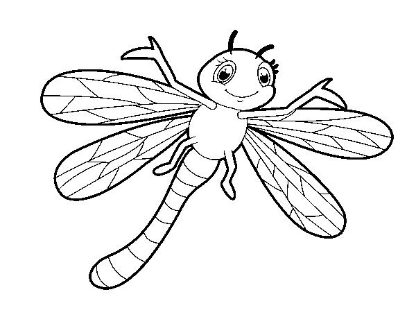 Dibujos De Insectos Para Colorear Para Ninos: Dibujo De Libélula Infantil Para Colorear