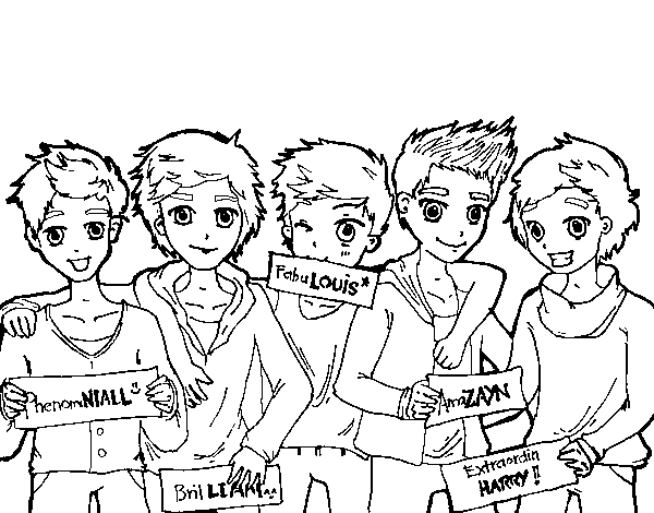 Dibujo de Los chicos de One Direction para Colorear