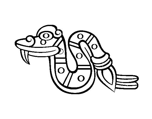 dibujo de los días aztecas la serpiente cóatl para colorear