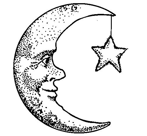 Dibujo de Luna y estrella para Colorear - Dibujos.net